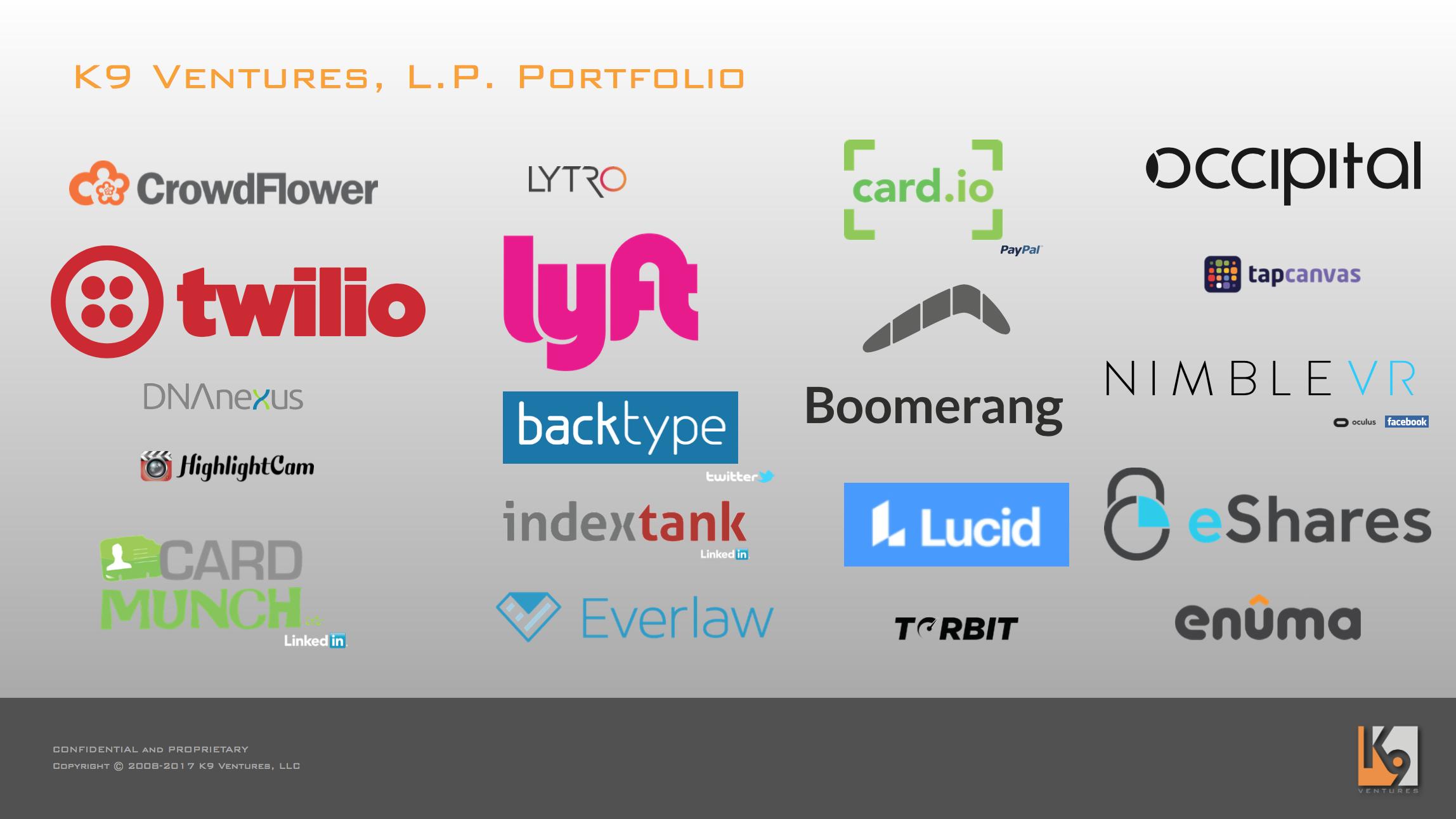 K9 Ventures, L.P. Portfolio Companies: CrowdFlower, Twilio, DNAnexus, HighlightCam, CardMunch, Lytro, Lyft, BackType, IndexTank, Everlaw, card.io, Boomerang, Lucid Software, Torbit, Occipital, TapCanvas, NimbleVR, eShares, Enuma